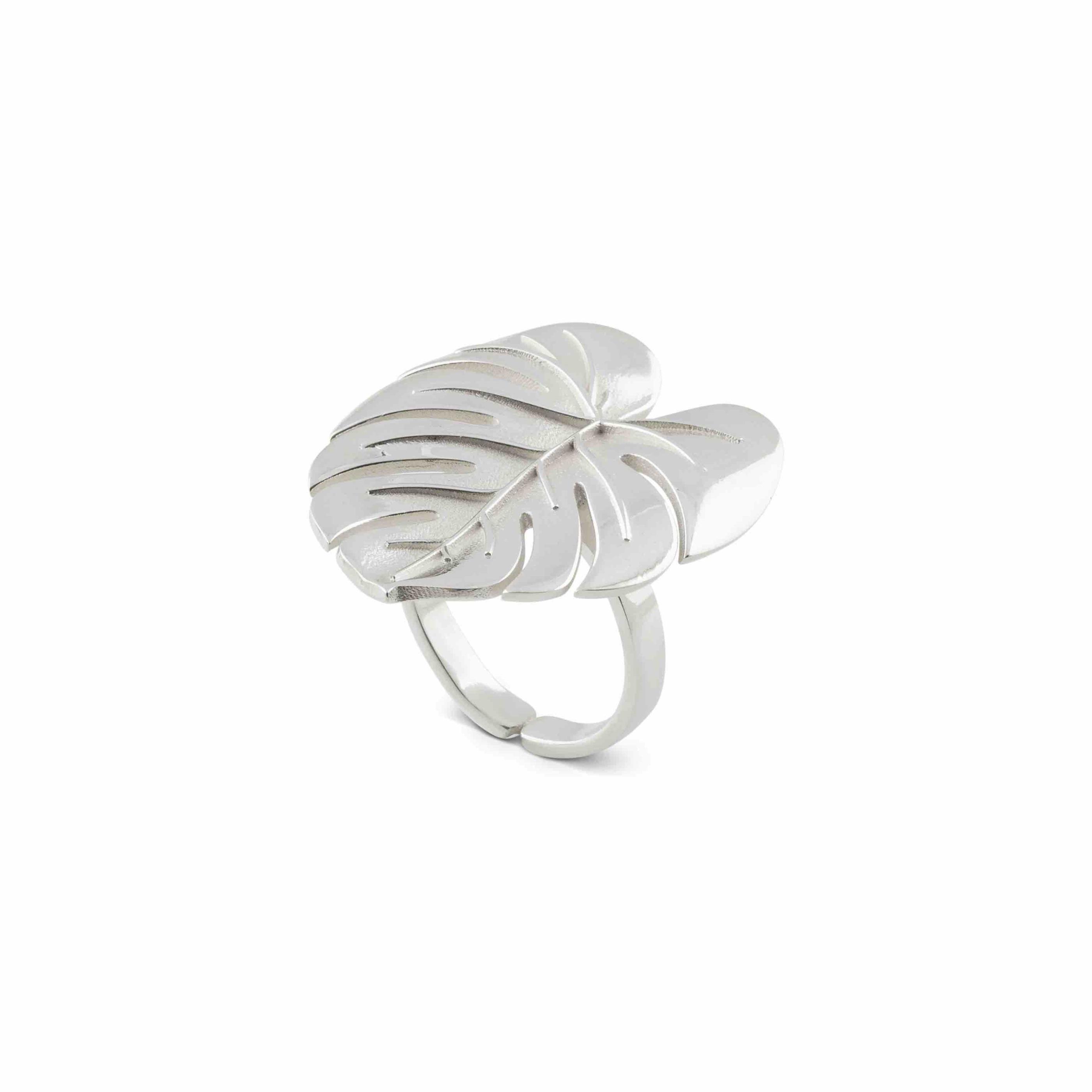 Palm Leaf ring silver B