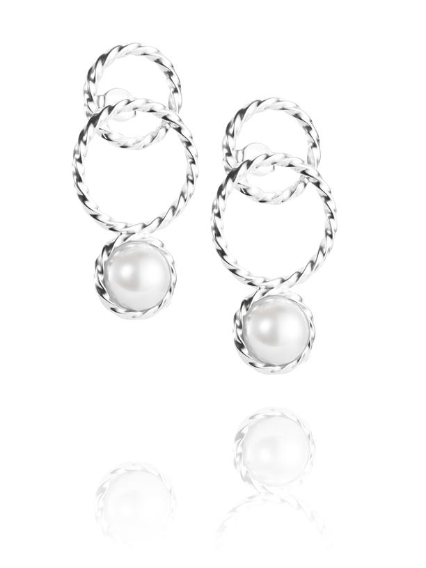 Twisted Orbit Earrings - Pearl 12-100-01538(1)