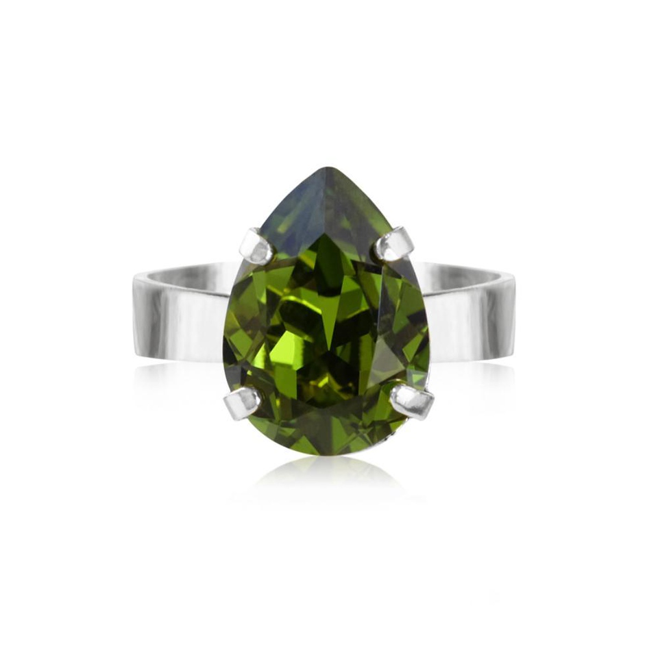 Mini drop ring olivin rhodium