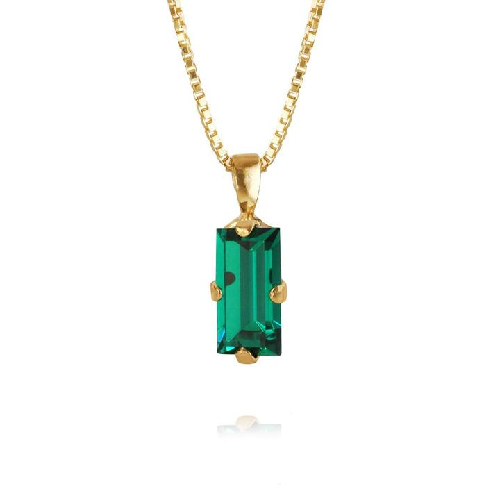Baguette necklace emerald