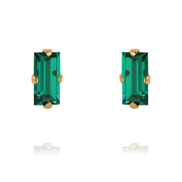 Baguette earrings emerald gold