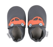 Bobux skinntofflor grå med orange bil - stl M (9-15)