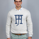 Round neck logo knit jumper vit - Hansen & Jacob