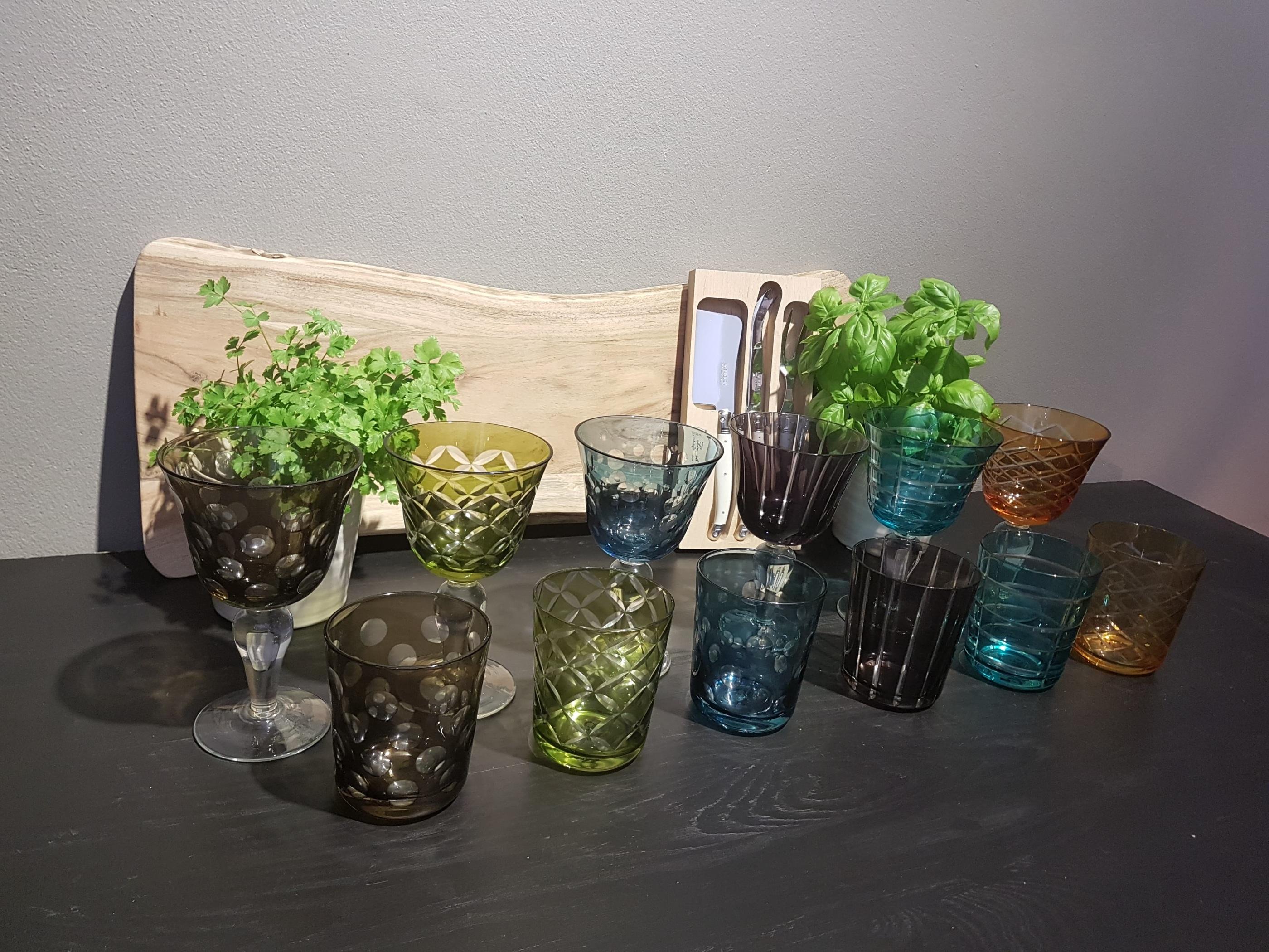 Mixade färger glas