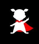 Tygkasse superfritidspedagog - Svart kasse med figur med röd cape