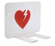 Krok för upphängning av hjärtstartare (hjärta i rött)