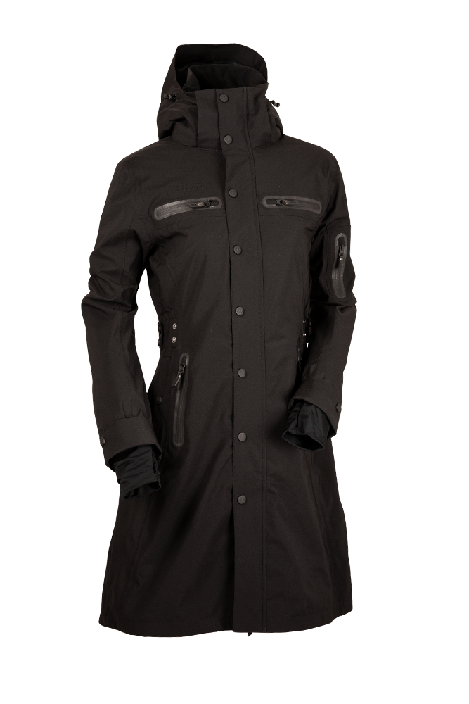 UHIP Mid Length Trench Coat Jet Black