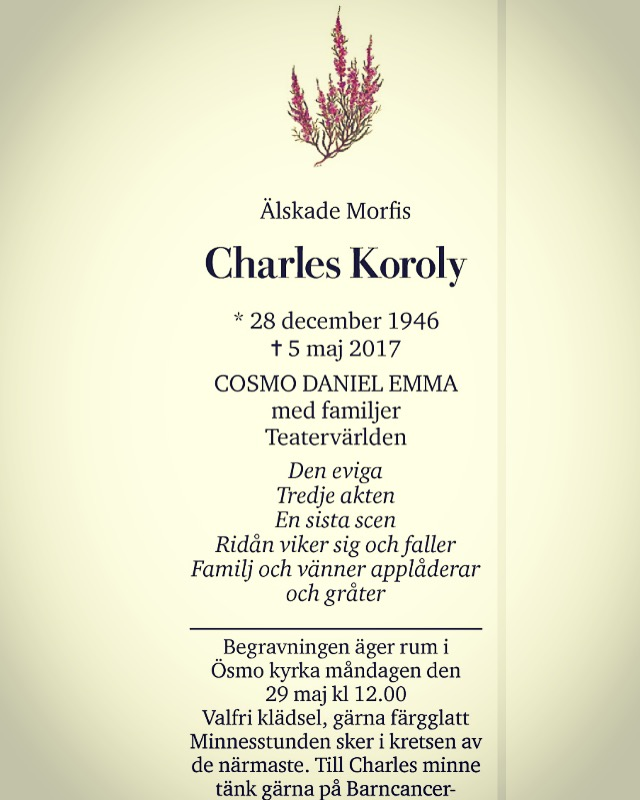 Charles Korolys dödsannons