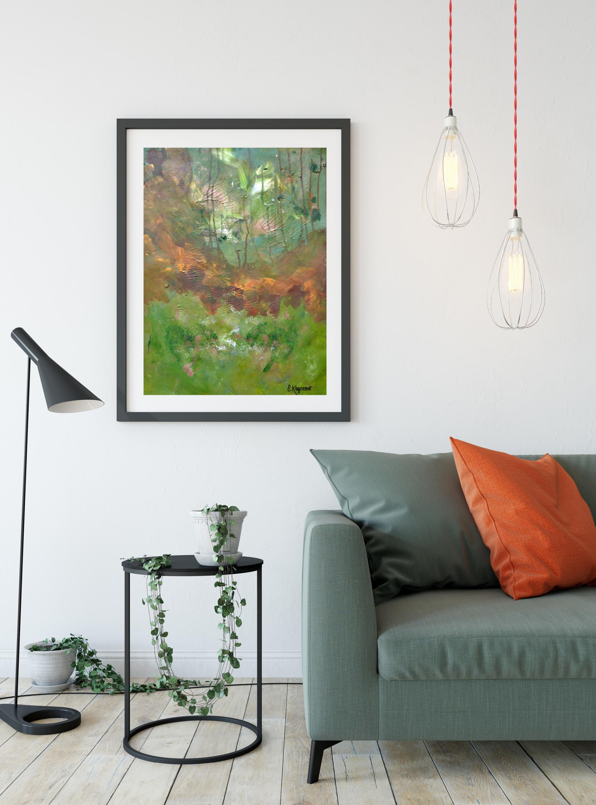 SS Grön soffa Måleriduk guldskog