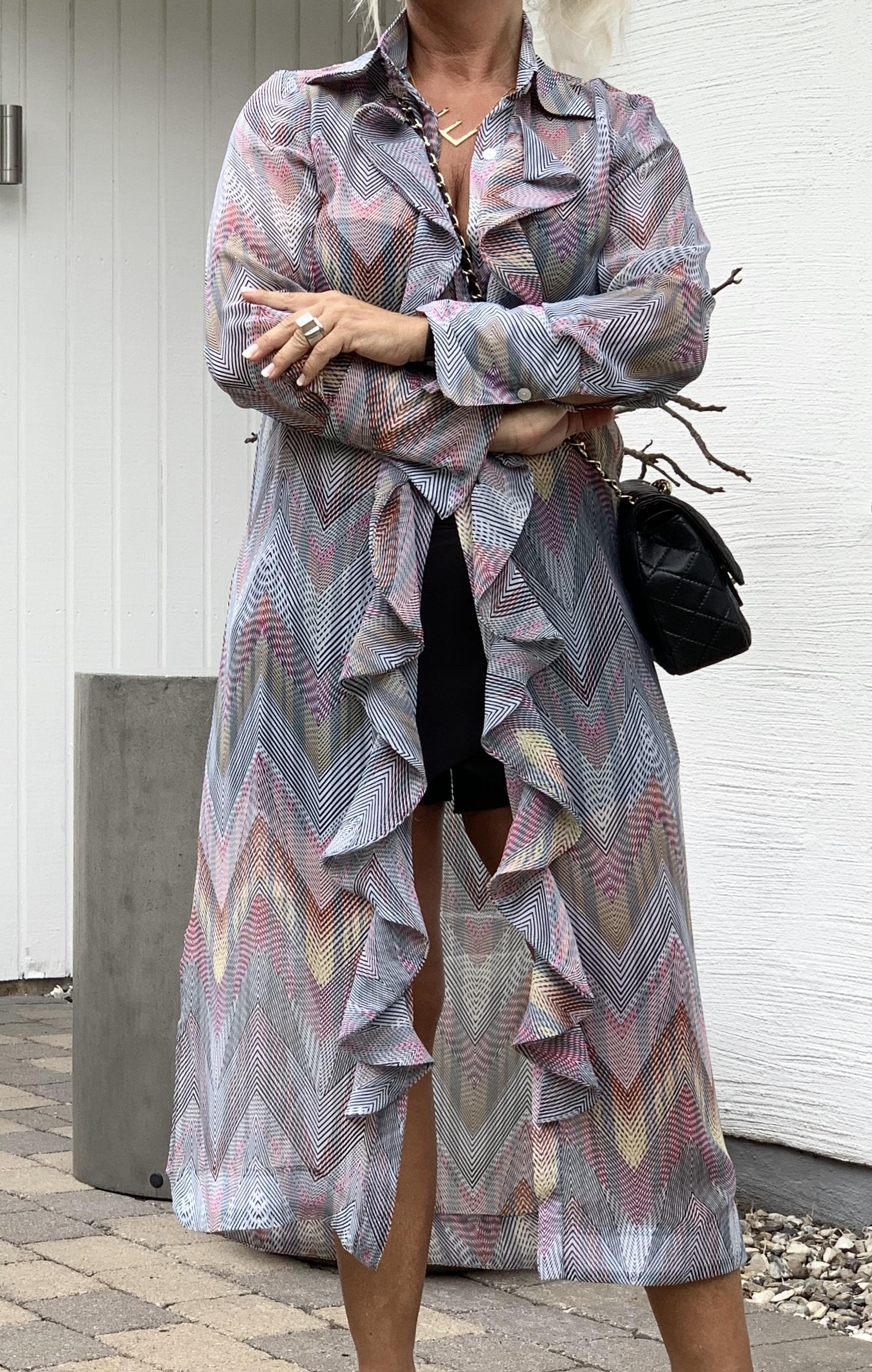 KARMAMIA Chevron-Ruffle-Kimono IMAGE BY ME