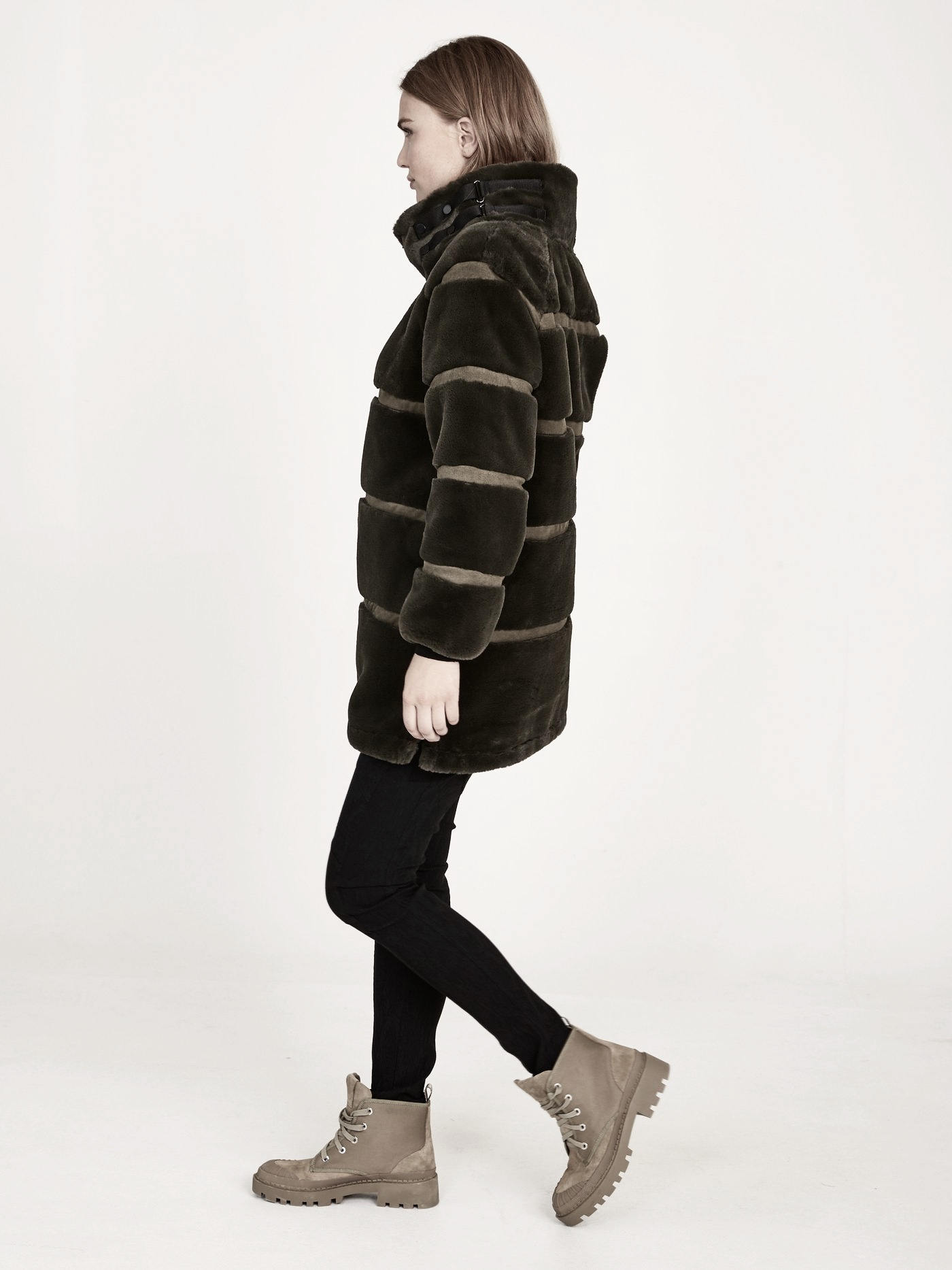 NÜ DENMARK EVELIN FAUX FUR JACKET DUST ARMY IMAGE BY ME