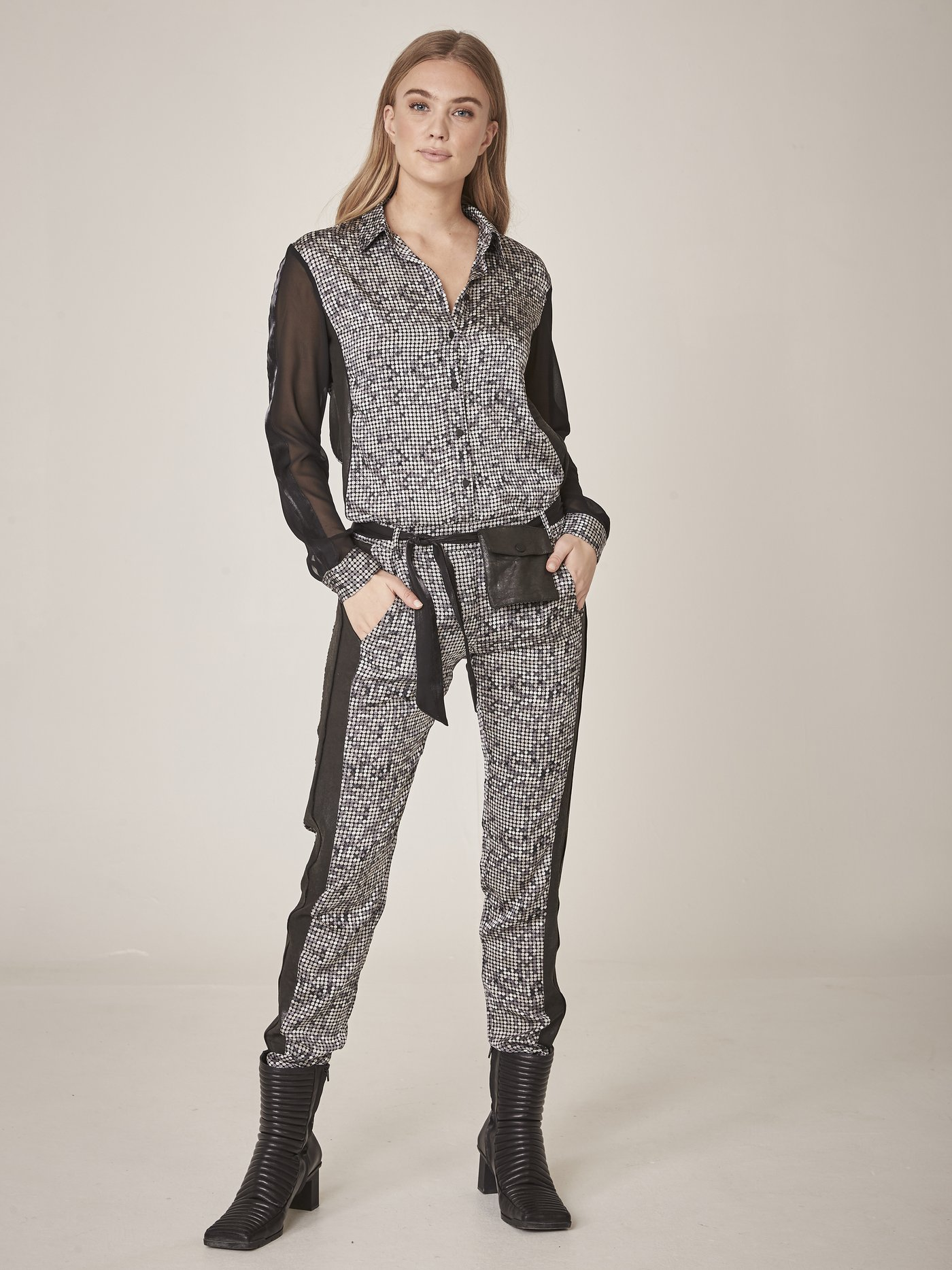 NÜ DENMARK ELINA FAITH TROUSERS RAVEN GREY MIX IMAGE BY ME