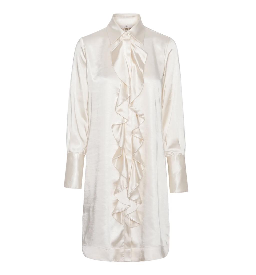 KARMAMIA Ruffle Kimono (short) - Ivory Rich Satin IMAGE BY ME
