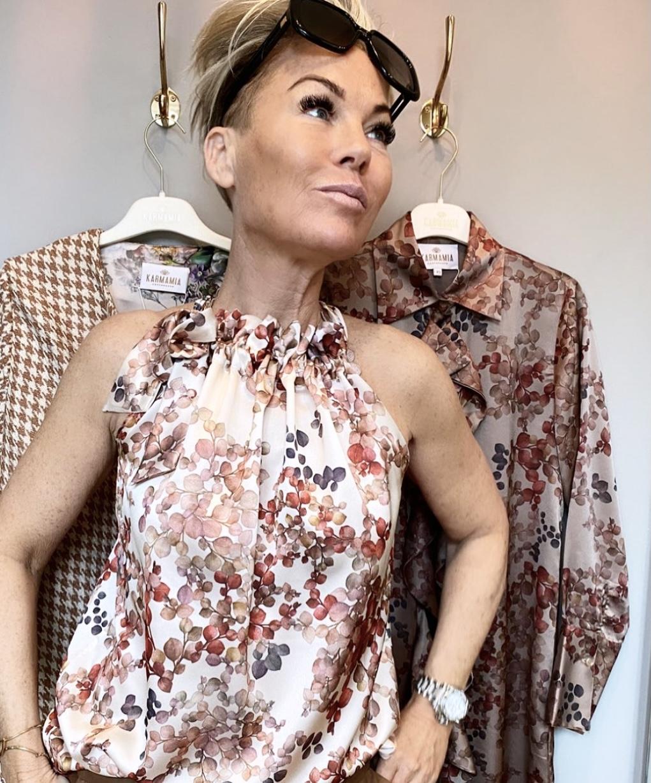 KARMAMIA Melange Ivory Ruffle Tie Top IMAGE BY ME