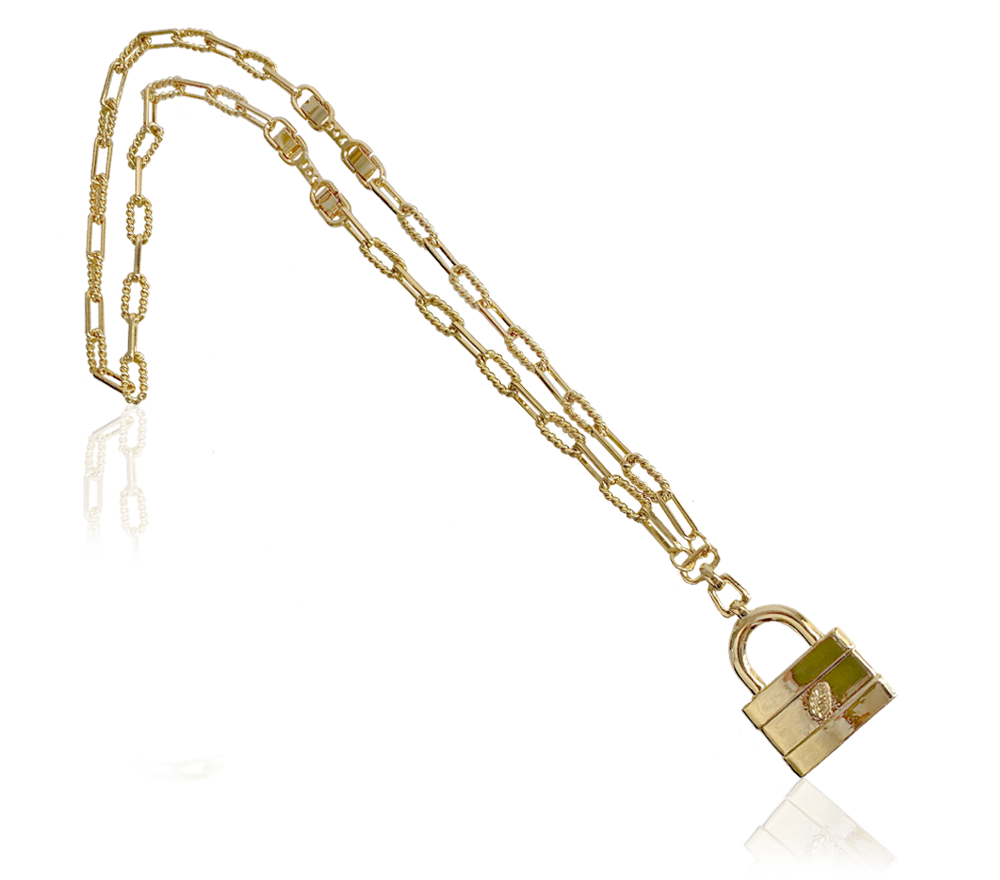 IOAKU MASSIVE LOCK NECKLACE GOLD IMAGE BY ME