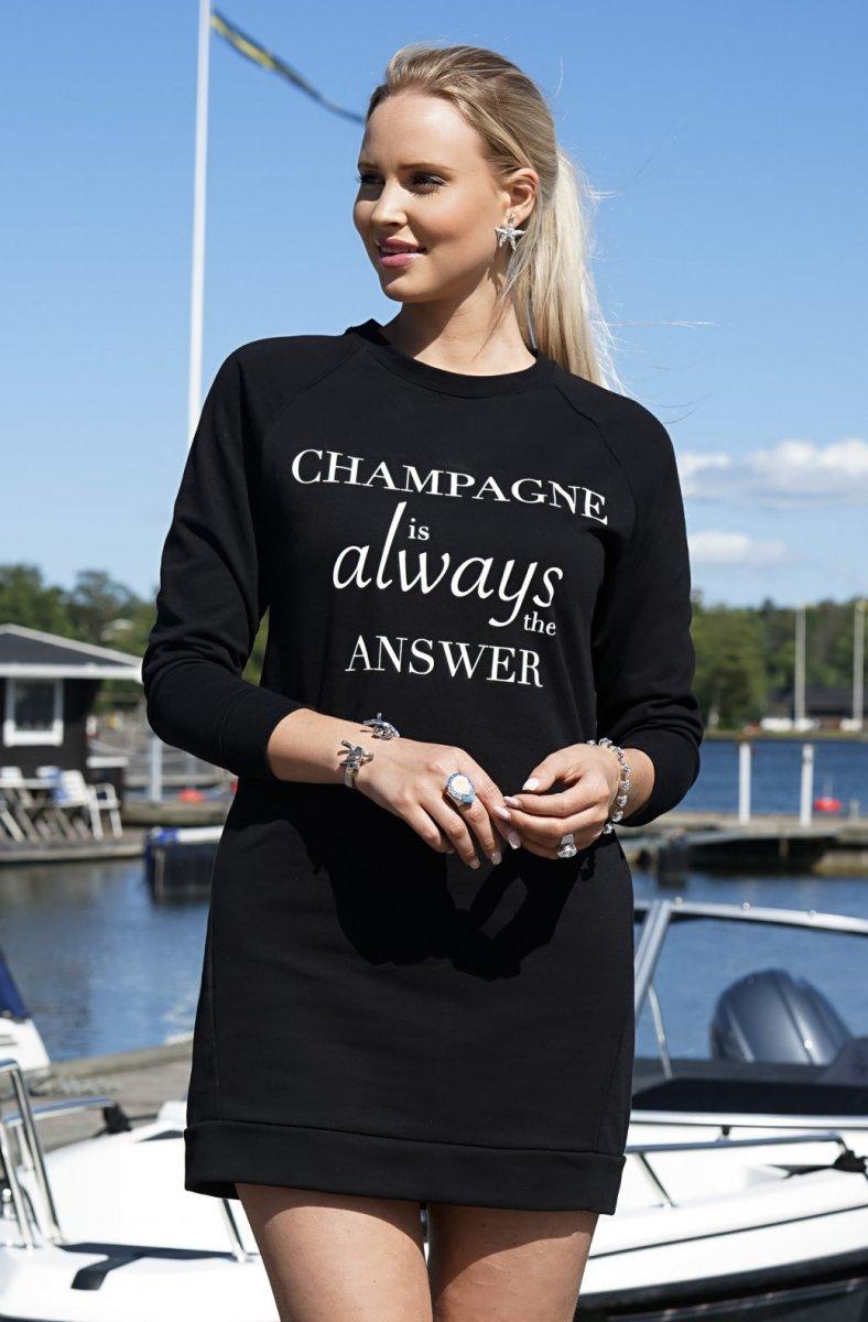 BLOND HOUR - CHAMPAGNE SWEATSHIRT DRESS BLACK 1