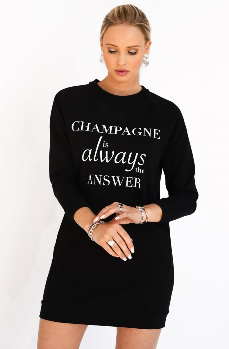 BLOND HOUR - CHAMPAGNE SWEATSHIRT DRESS BLACK 2