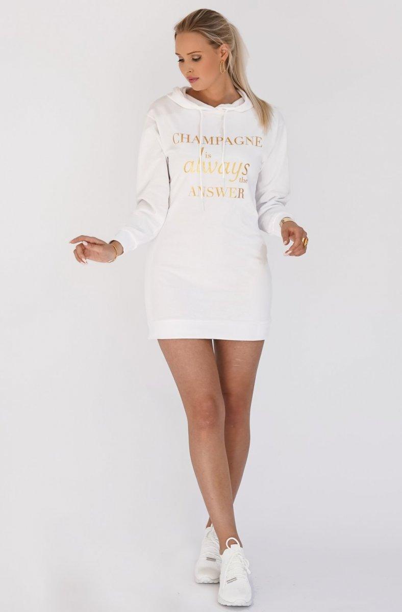 BLOND HOUR - CHAMPAGNE SWEATSHIRT HOODIE DRESS WHITE 1