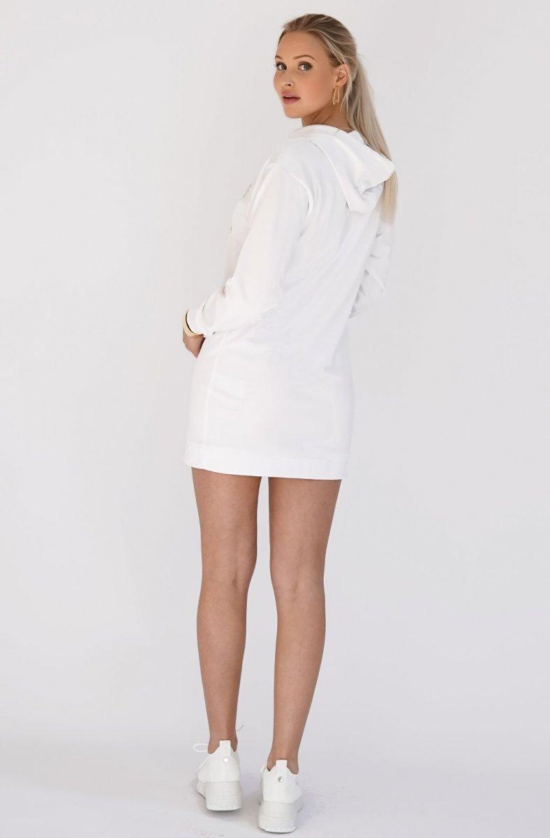 BLOND HOUR - CHAMPAGNE SWEATSHIRT HOODIE DRESS WHITE 2