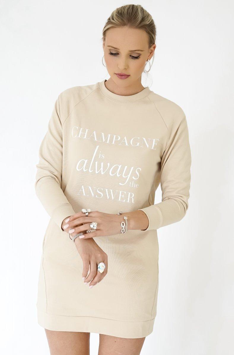 CHAMPAGNE SWEATSHIRT DRESS - BEIGE 1