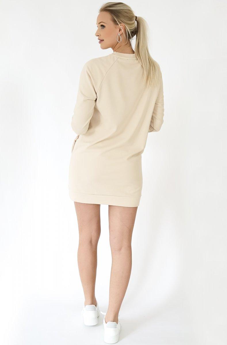 CHAMPAGNE SWEATSHIRT DRESS - BEIGE 2
