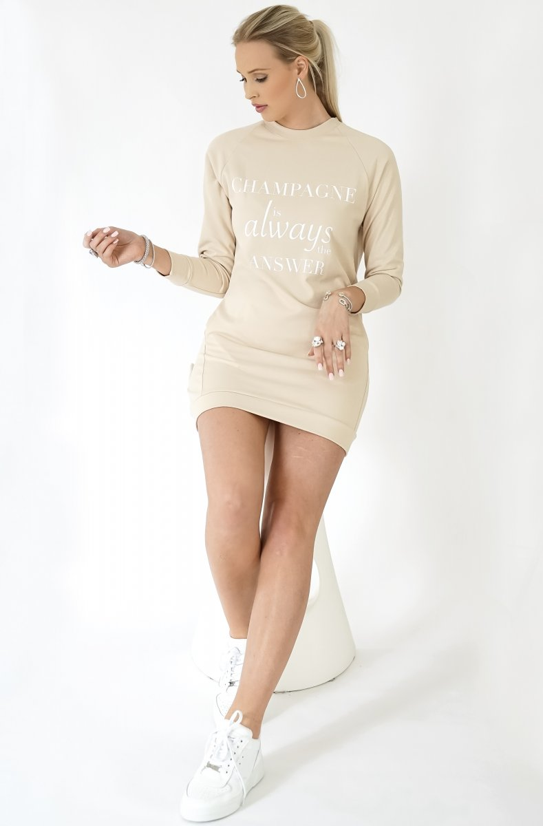 CHAMPAGNE SWEATSHIRT DRESS - BEIGE