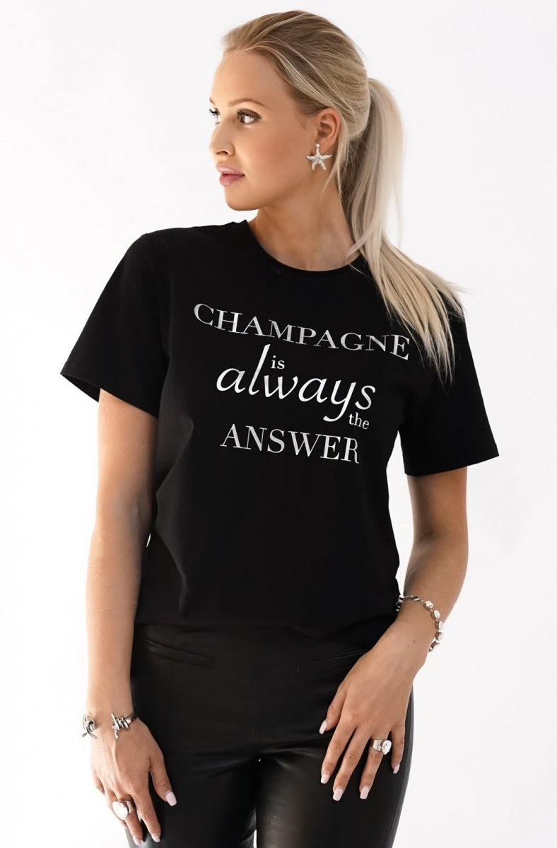 BLOND HOUR - CHAMPAGNE T-SHIRT BLACK IMAGE BY ME