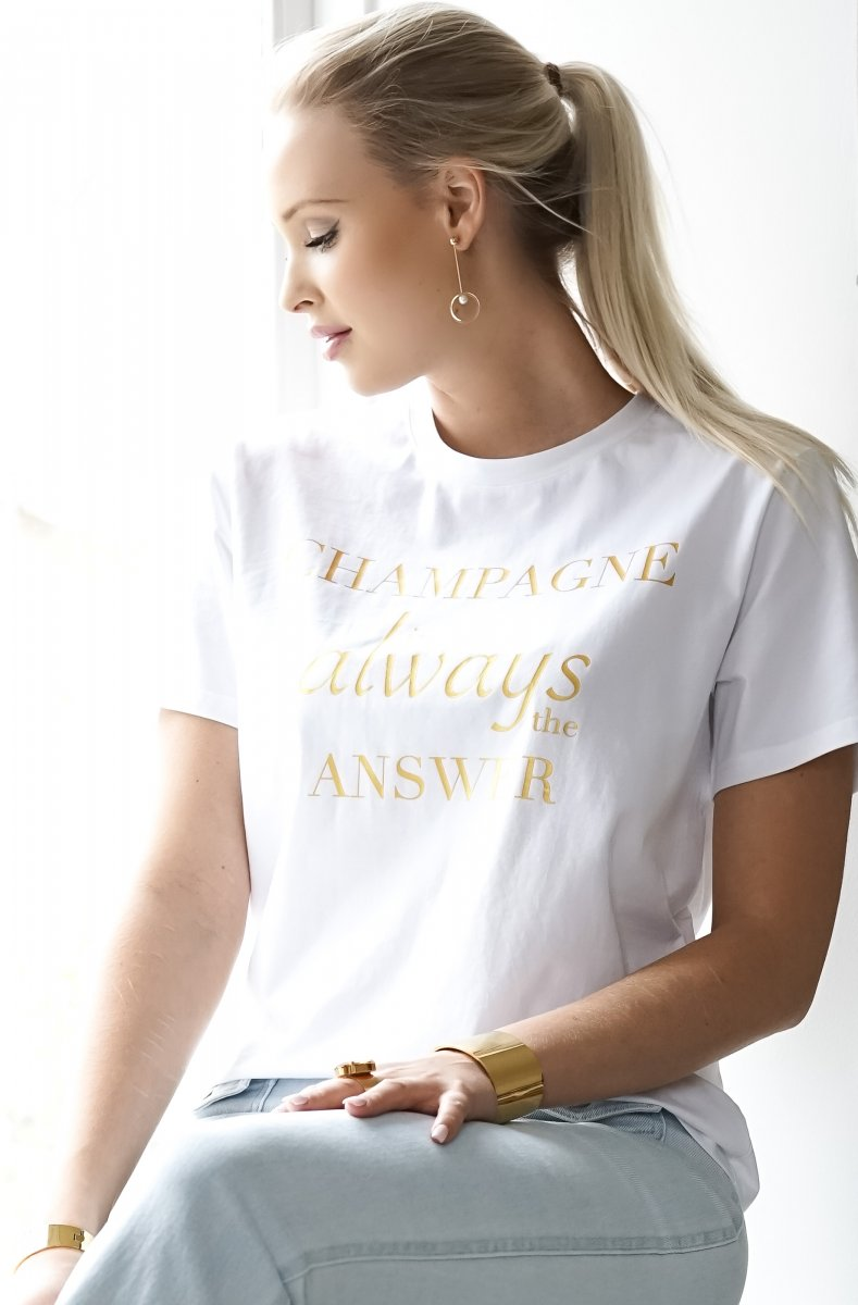 CHAMPAGNE T-SHIRT  WHITE GOLD IMAGE BY ME