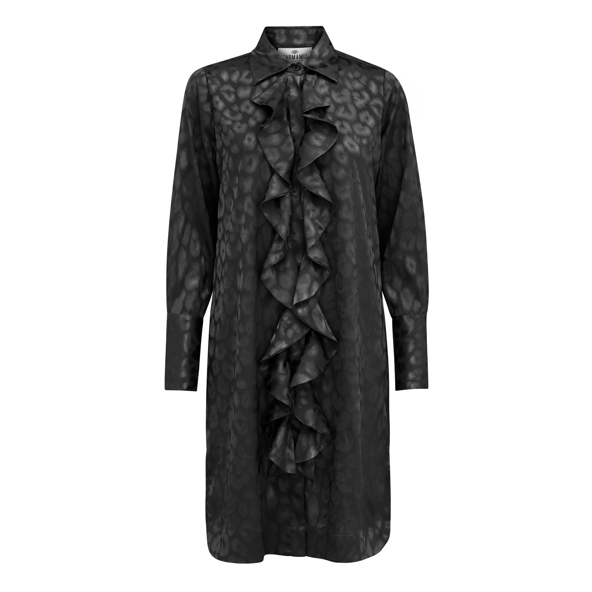 KARMAMIA Ruffle Kimono (short) - Black Leo Jacquard IMAGE BY ME