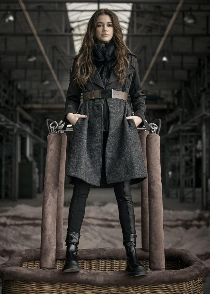 NÜ DENMARK IRENE COAT WITH BELT BLACK MIX IMAGE BY ME