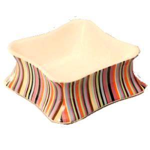Matskål randig i keramik - Matskål i keramik  randig 0,3 l