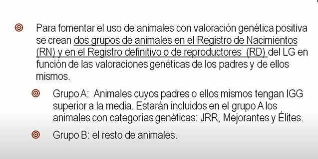 """I syfte att uppmuntra  uppfödare att använda hästar med utvärderade goda genetiska egenskaper kommer födelseregistret """"RN"""" och ett slutligt register """"RD"""" bilda en grupp.  Registrering i gruppen baseras på djur som själva uppvisar eller nedärver genetiskt positiva egenskaper. Grupp A:  Hästar vars föräldrar eller själva har GGI, (Globalt Genetiskt Index) över genomsnittet. Hästar med genetiska kategorier, JRR, Mejorantes och Élites ingår i grupp A. Grupp B:  Hästar som inte når upp till kraven för att ingå i grupp A,"""