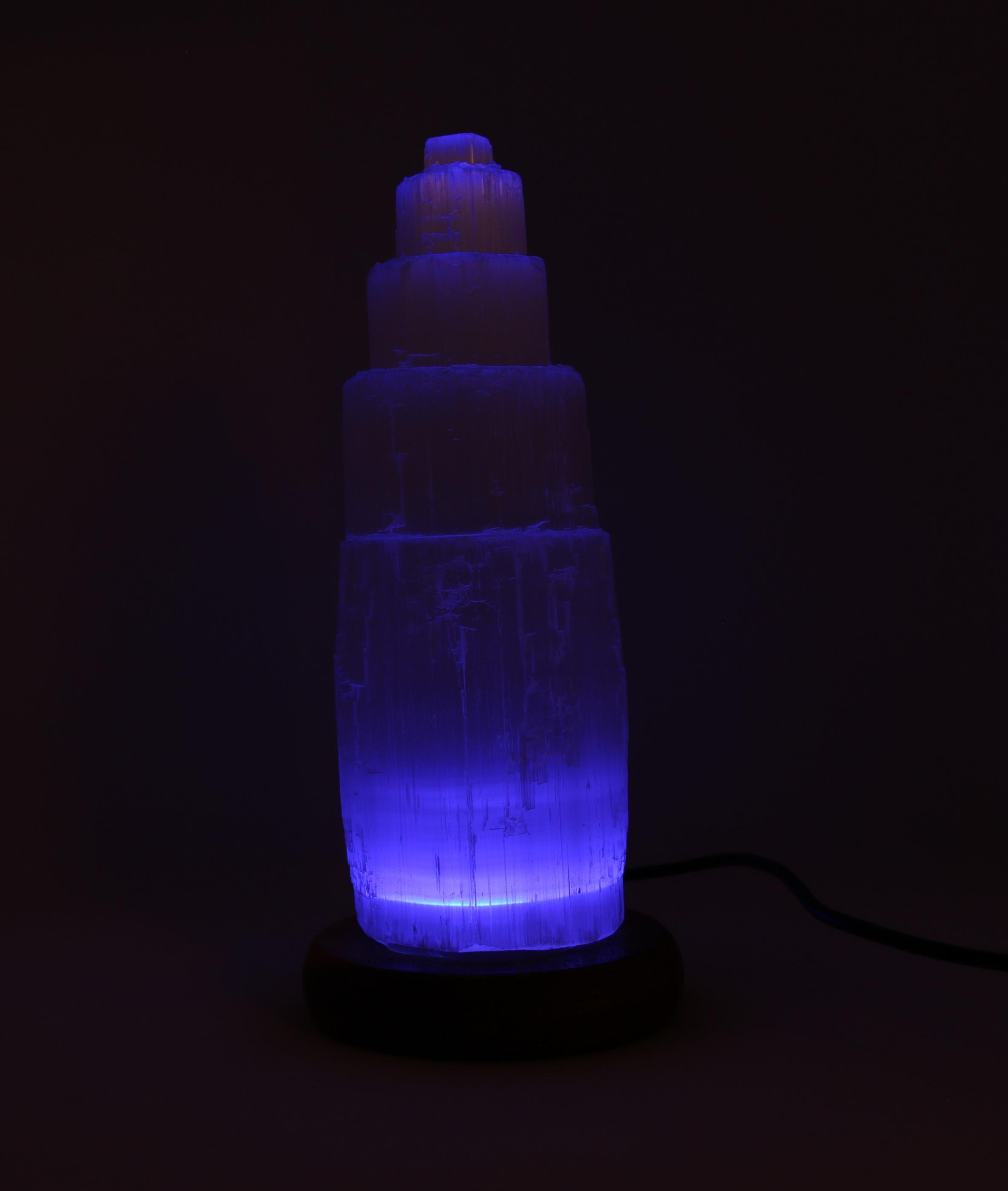Selenit lampa med fluorescerande ljus wellness ayurveda halmstad sweden svensk lampa