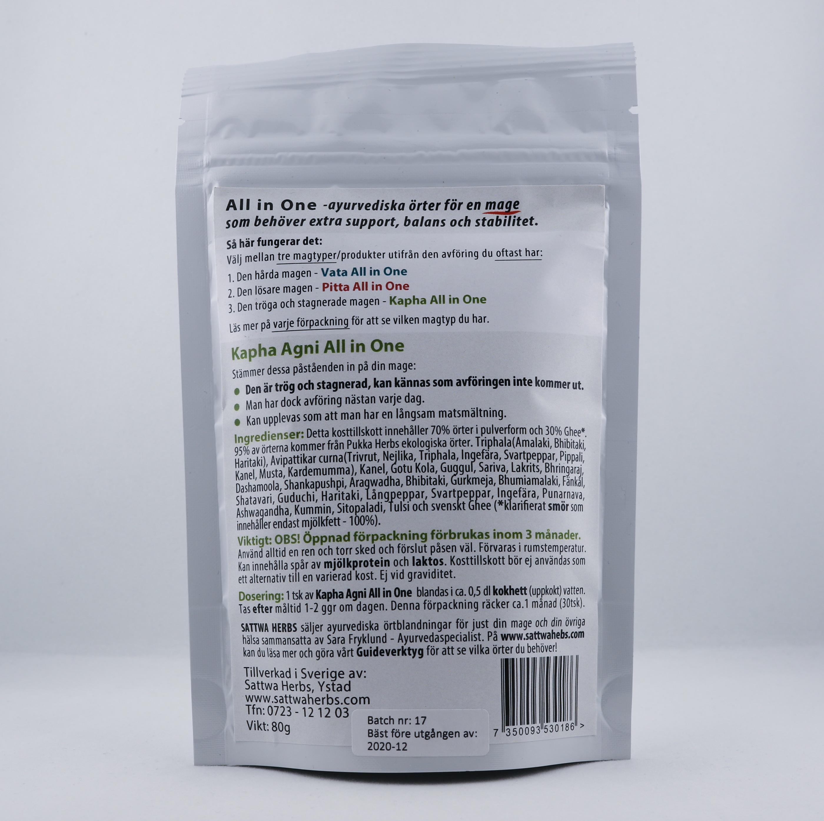 Kapha Agni pulver Wellness Ayurveda Halmstadmassören Halmstad Sverige Sweden svensk pulver