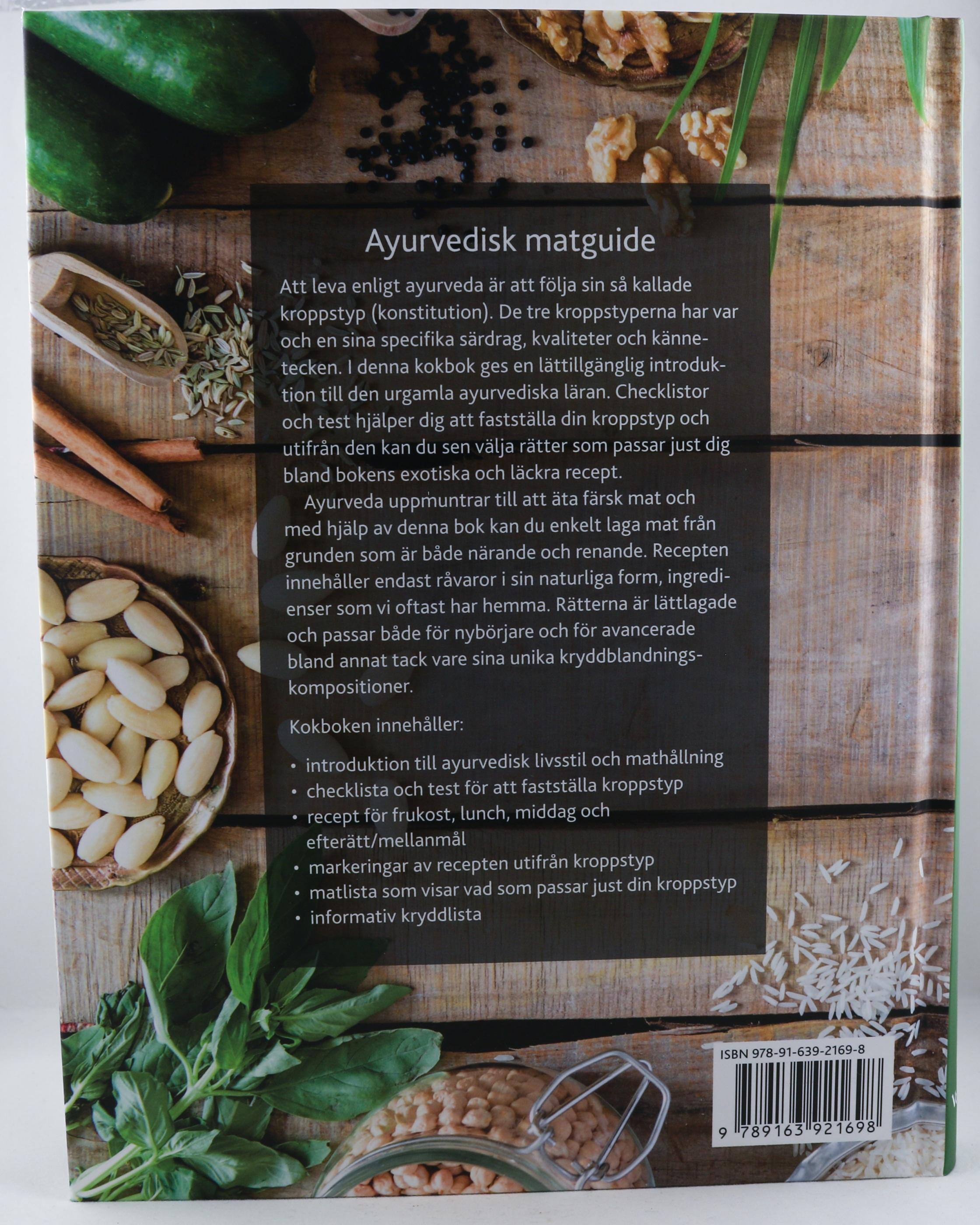 Ayurvedisk vegetarisk kokbok Wellness Ayurveda Halmstadmassören Halmstad Sverige Sweden svensk läsa bok