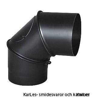 Kaminrör böj_vinkel rökrör_justerbar upp till 90° med sotlucka Ø200