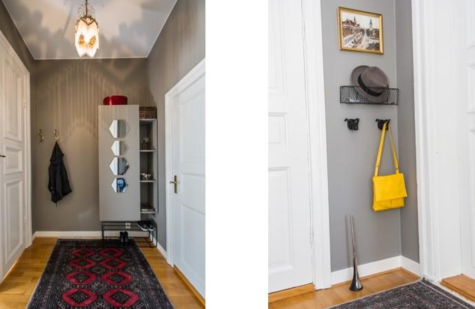 DIY platsbyggd förvaring i liten hall. Plats att hänga ytterkläder gömd bakom väggen.