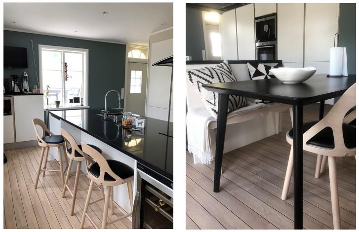 Hans K stol Colibri. Kök med extra bordsplats för barnen från Ikea. Vintage bänk och kuddar från HM och Pompone.