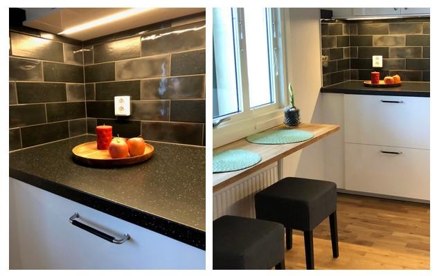 Köket i denna etta fick ny fräsch inredning från Ikea.