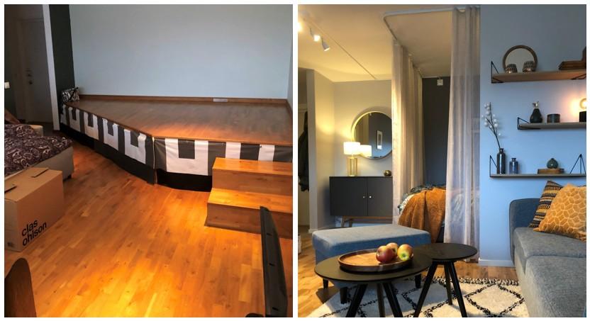 Före och efter: Vi byggde en sovalkov med gardiner att dra för vid behov och valde en mörkare väggfärg för en ombonad känsla