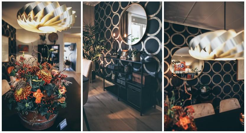Inredningsdetaljer som gör skillnad. Färgklickar, sideboard, rund spegel, lampa från Tom Rossau