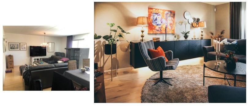 Före och efter, Vardagsrum i Varberg. Vägghängd förvaring får rummet att kännas rymligare och det blir mer lättstädat. Varma färger, smart och behaglig belysning samt en stor skön matta gör rummet ombonat.