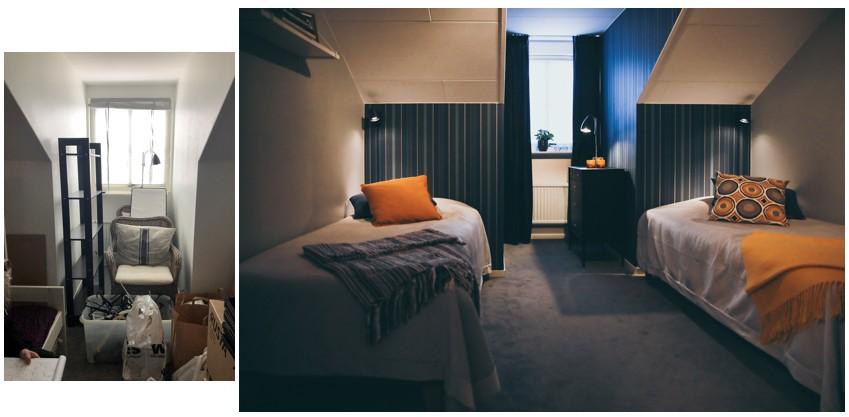 Före och efter, inredning i ett sovrum med snedtak, Varberg