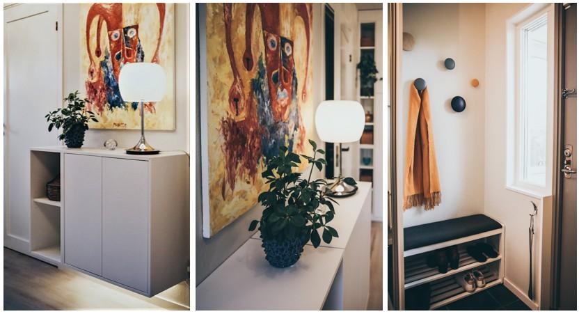 Inred hallen både välkomnande och praktisk, med vägghängd förvaring, bra belysning och glada färger.