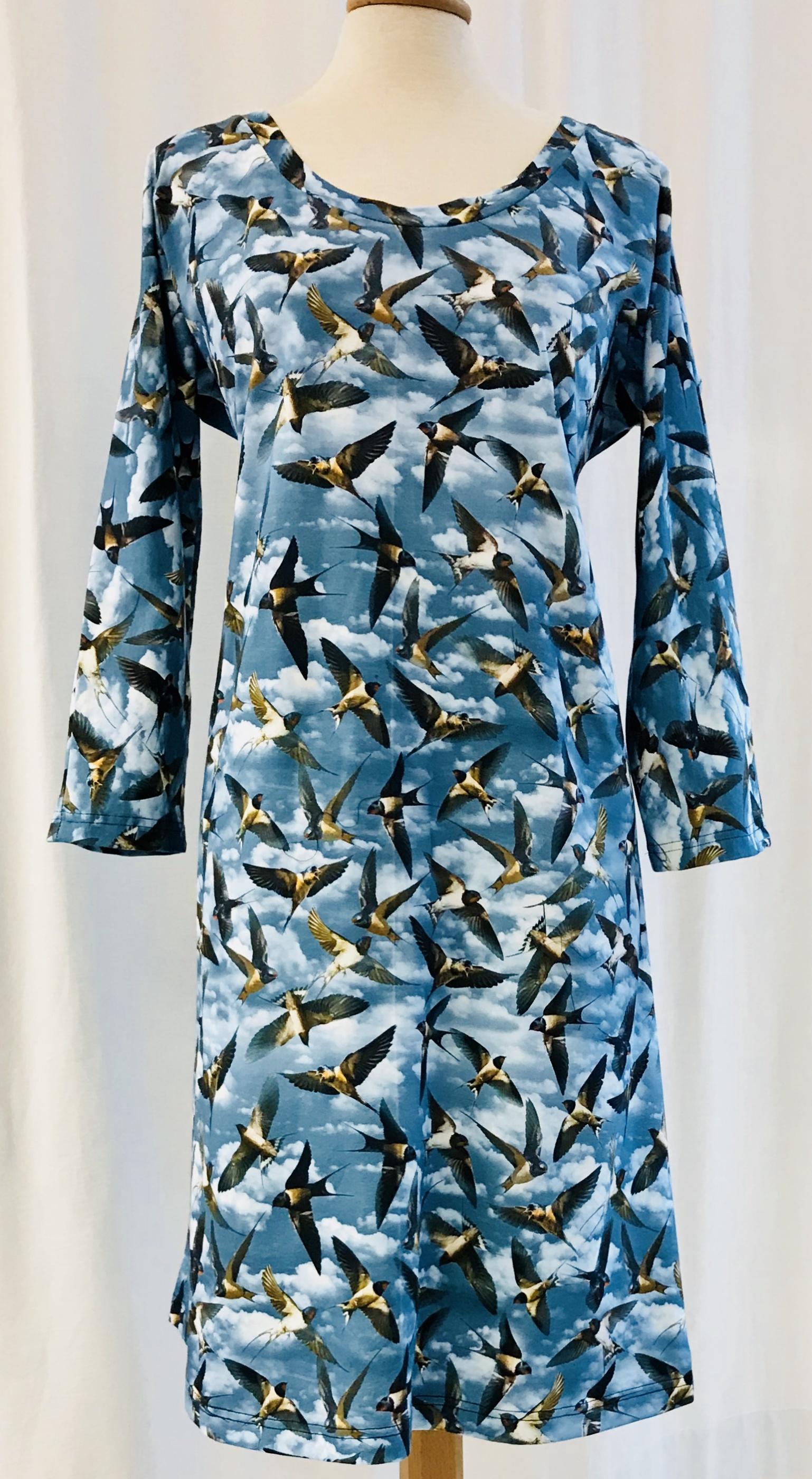 klänning tunika svala fågel bomull trikå