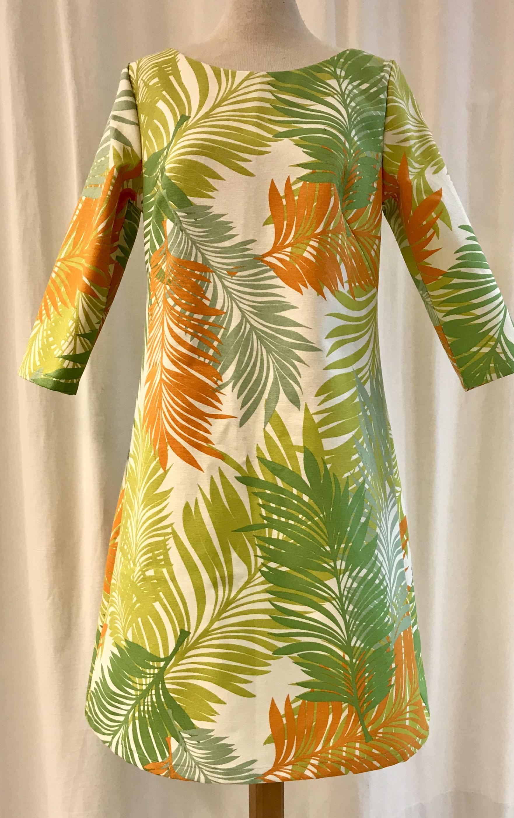 solbritt SaraLaholm klänning orange grön djungel mode unik design