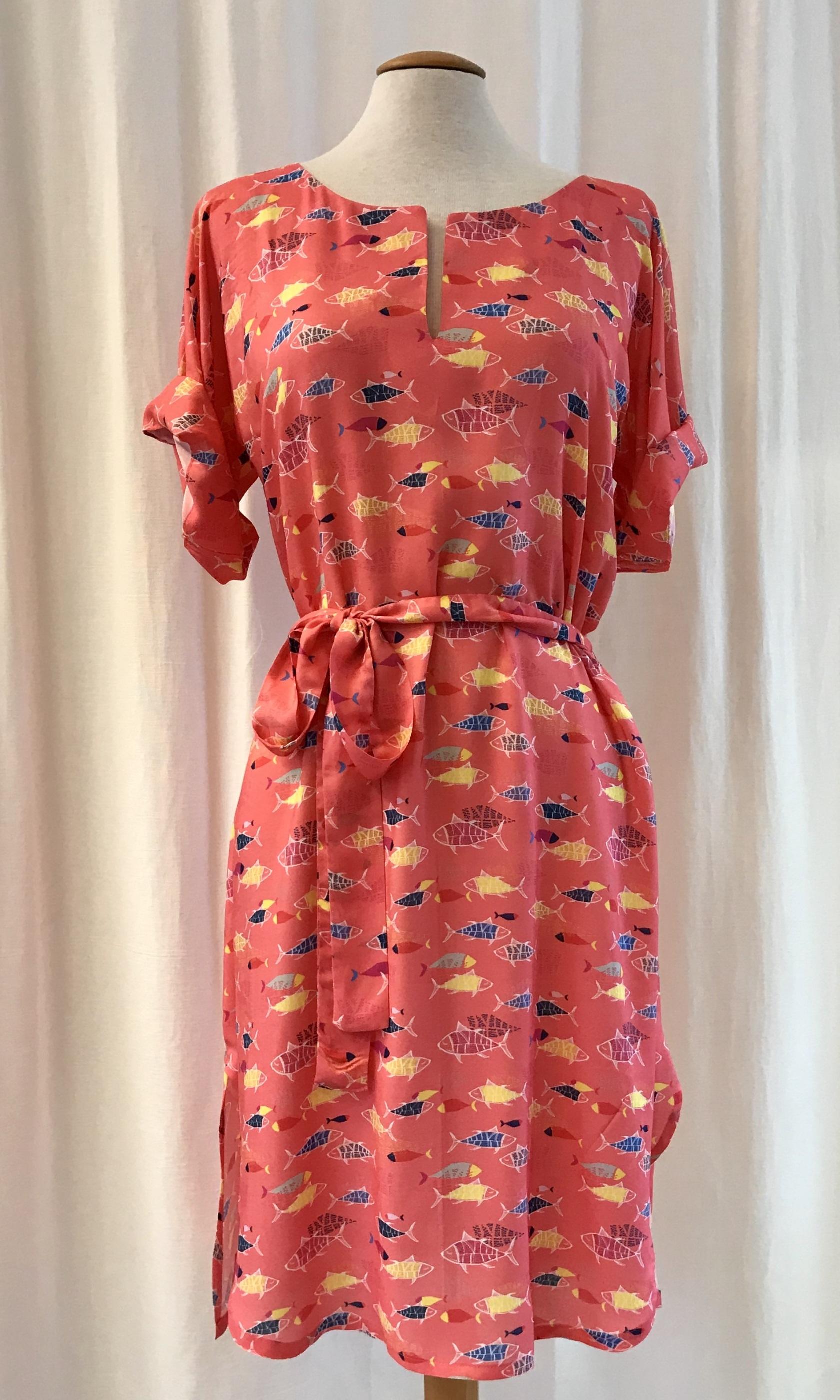 SaraLaholm klänning Anemona korall viskos unik design