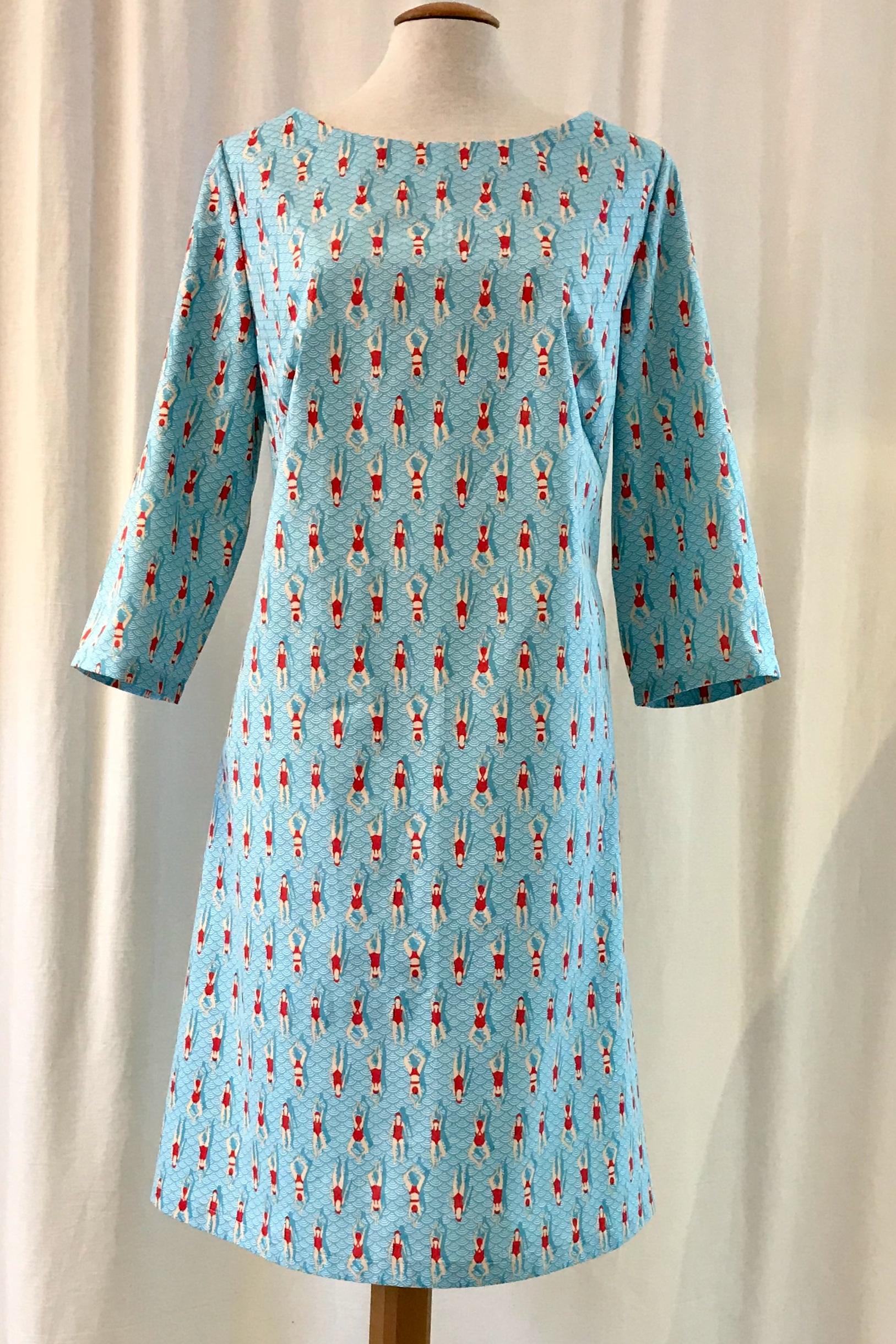 SaraLaholm klänning solbritt konstsim bomull unik design turkos