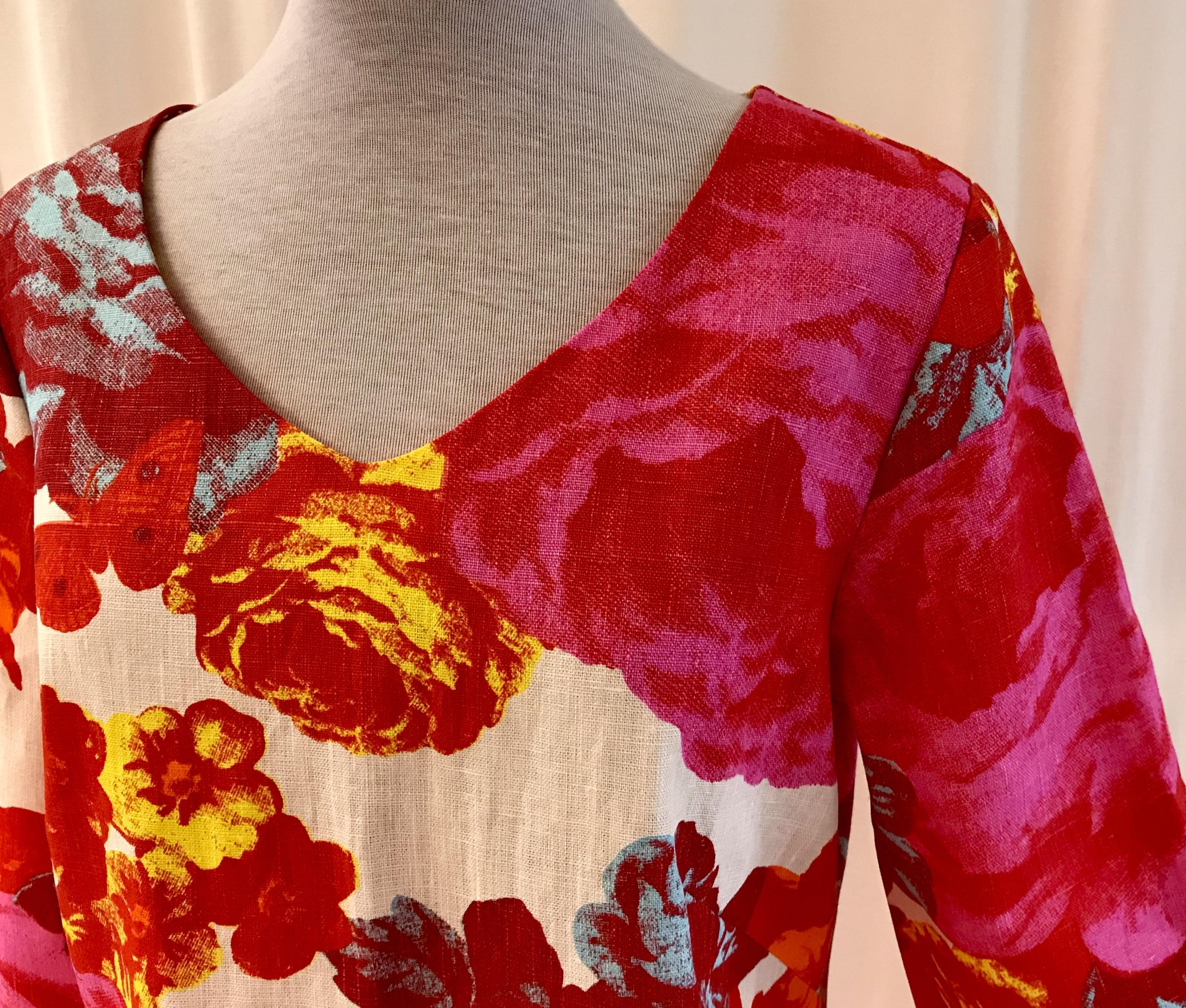 SaraLaholm klänning Solbritt rosen lin unik design