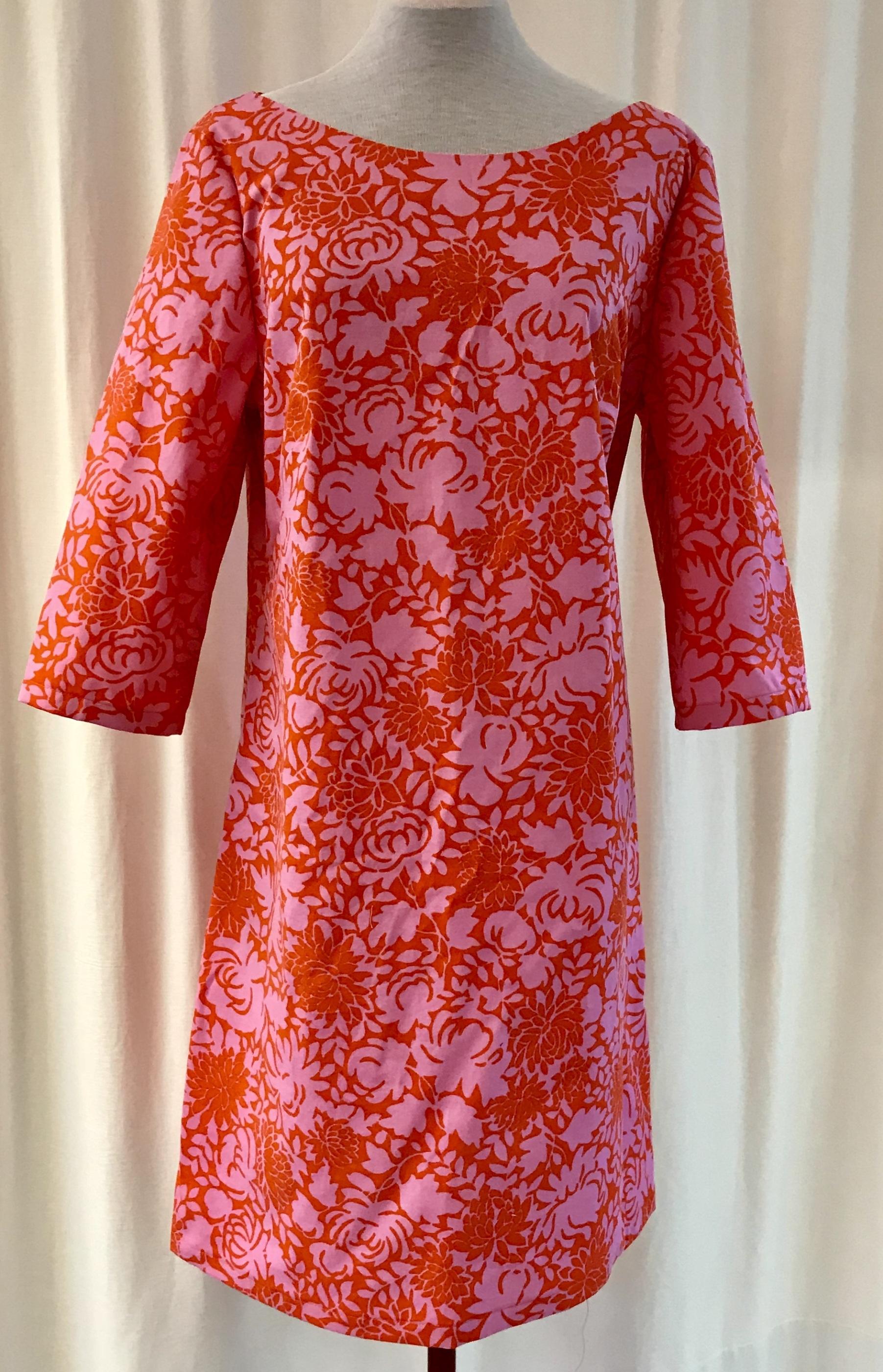 SaraLaholm klänning Solbritt retro second hand rosa medaljong unik design bomull